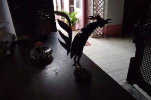 Fighting cock sculpture