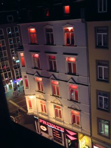 View 2 from Hotel Room - Red Lights in Frankfurt