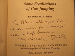 Sir Derek's best wishes for me in my new career
