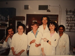 With fellow Bartonians in the Lab at Gif - Pascale 3rd from left