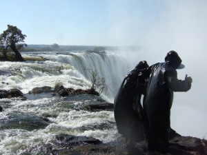 Peering over the Vic Falls  Edge