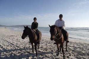 Horse rising with Carin on Noordhoek Beach